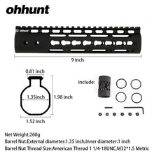 Load image into Gallery viewer, 9 Inch Free Float Keymod Handguard WIth Steel Barrel Nut