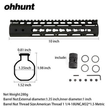 Load image into Gallery viewer, 10 Inch Free Float Keymod Handguard WIth Steel Barrel Nut