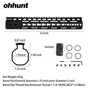 "ohhunt Slim Style 7"" 9"" 10"" 12"" 13.5"" 15"" AR15 Free Float Keymod Handguard Picatinny Rail with Steel Barrel Nut for Scope Mount"