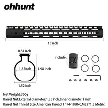 "Load image into Gallery viewer, ohhunt Slim Style 7"" 9"" 10"" 12"" 13.5"" 15"" AR15 Free Float Keymod Handguard Picatinny Rail with Steel Barrel Nut for Scope Mount"