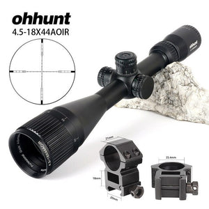 ohhunt 4.5-18X44 AOIR Hunting Optical Full Size Rifle Scope R/G/B Illuminated Reticle 1 inch Tube Lock Reset