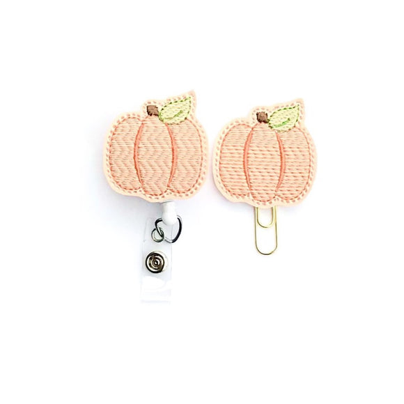 Blush Pumpkin Badge Reel, Planner Clip, ID Holder, Magnet, Brooch Pin,
