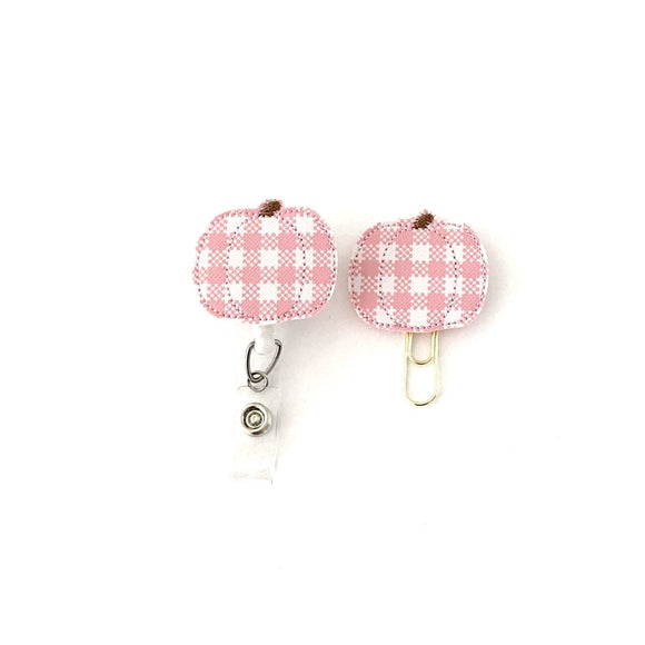 Pink Plaid Pumpkin Badge Reel, Planner Clip, ID Holder, Magnet, Brooch Pin,