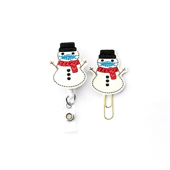 Snowman Wearing Mask Badge Reel, Planner Clip, ID Holder, Magnet, Brooch Pin,