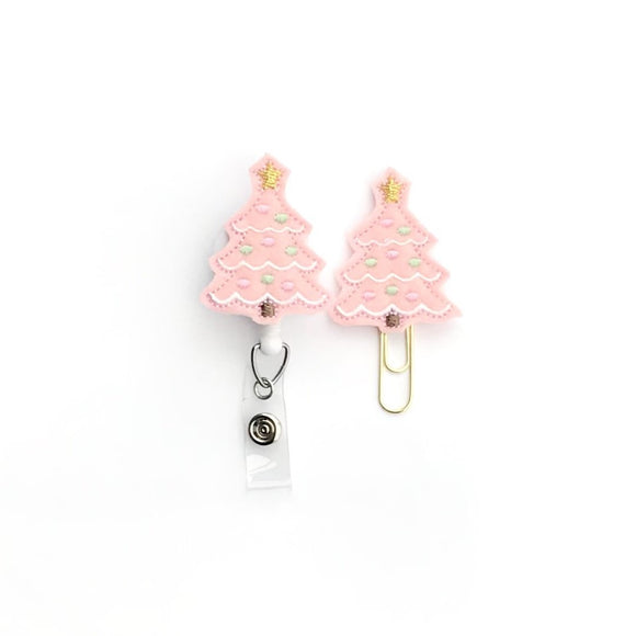 Pink Christmas Tree Badge Reel, Planner Clip, ID Holder, Magnet, Brooch Pin, (1145)