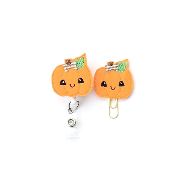 Halloween Pumpkin Fall Badge Reel, Planner Clip, ID Holder, Magnet, Brooch Pin, (118)