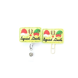 Christmas Squad Badge Reel, Planner Clip, ID Holder, Magnet, Brooch Pin,