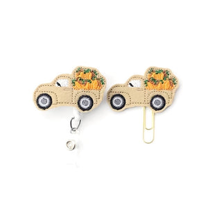 Fall Pumpkin Truck Badge Reel, Planner Clip, ID Holder, Magnet, Brooch Pin, (1491)