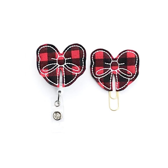 Red Black Buffalo Plaid Bow Badge Reel, Planner Clip, ID Holder, Magnet, Brooch Pin,