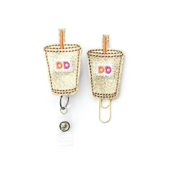 DD Iced Coffee Badge Reel, Planner Clip, ID Holder, Magnet, Brooch Pin, (1132)