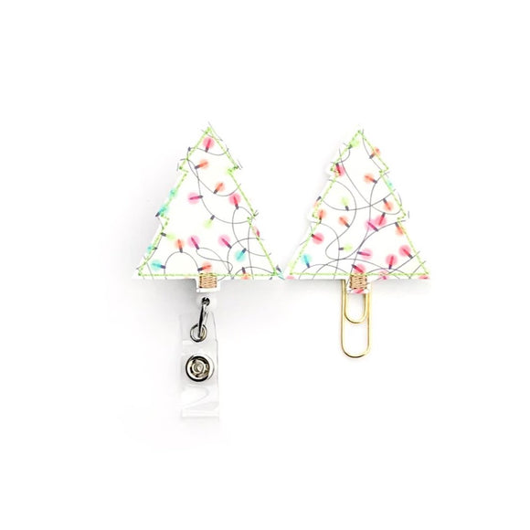 Christmas Tree With Lights Badge Reel, Planner Clip, ID Holder, Magnet, Brooch Pin,