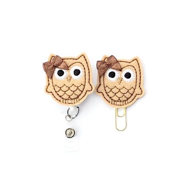 Owl Badge Reel, Planner Clip, ID Holder, Magnet, Brooch Pin,