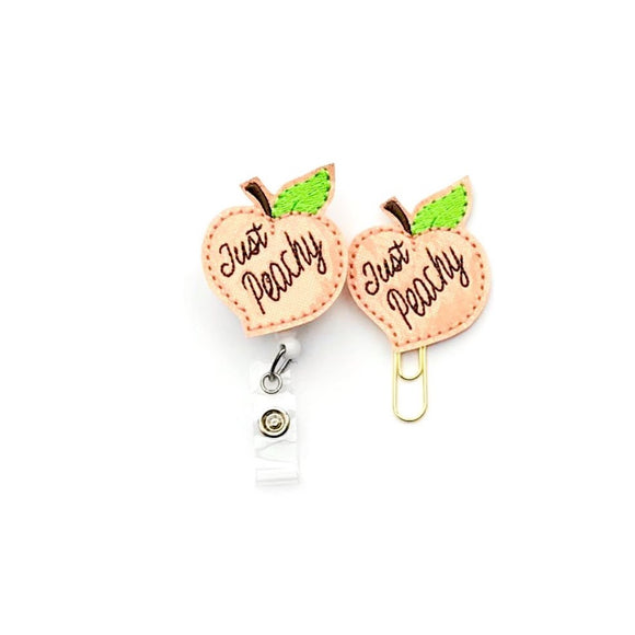 Just Peachy Peach Badge Reel, Planner Clip, ID Holder, Magnet, Brooch Pin,