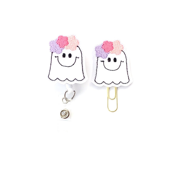 Halloween Ghost Girl Badge Reel, Planner Clip, ID Holder, Magnet, Brooch Pin, Badge Pull, Medical Badge Holder, ID Tag (1474)