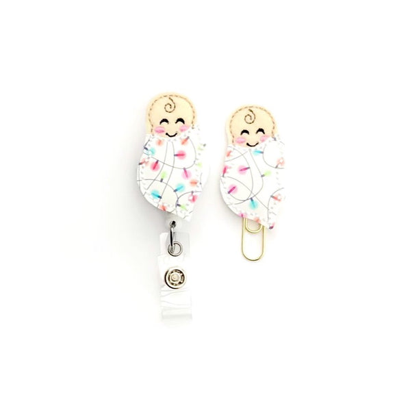 Christmas Baby NICU L&D Badge Reel, Planner Clip, ID Holder, Magnet, Brooch Pin,
