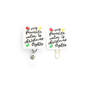 Christmas Lights Badge Reel, Planner Clip, ID Holder, Magnet, Brooch Pin,
