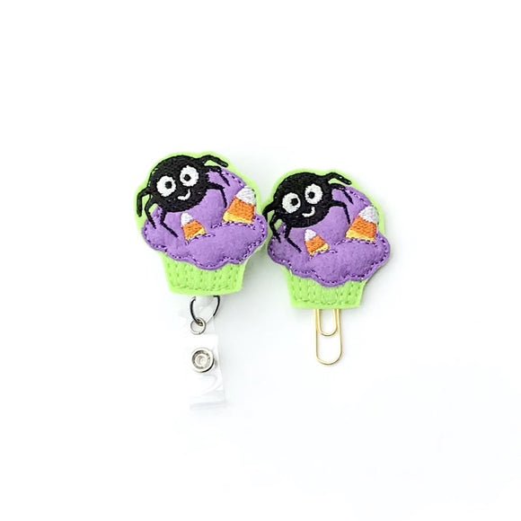 Halloween Cupcake Badge Reel, Planner Clip, ID Holder, Magnet, Brooch Pin,
