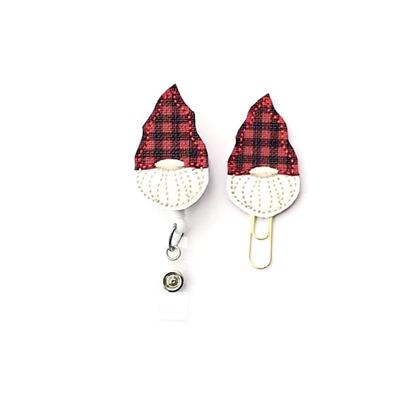 Christmas Plaid Gnome Badge Reel, Planner Clip, ID Holder, Magnet, Brooch Pin,