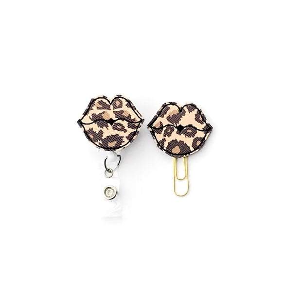 Leopard Lips Kiss Badge Reel, Planner Clip, ID Holder, Magnet, Brooch Pin,