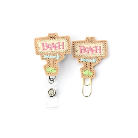 Beach Sign Badge Reel, Planner Clip, ID Holder, Magnet, Brooch Pin,