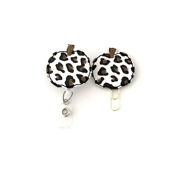 White Leopard Pumpkin Badge Reel, Planner Clip, ID Holder, Magnet, Brooch Pin,