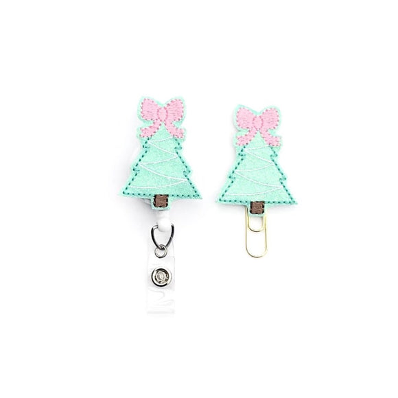 Mint Pastel Christmas Tree Badge Reel, Planner Clip, ID Holder, Magnet, Brooch Pin,
