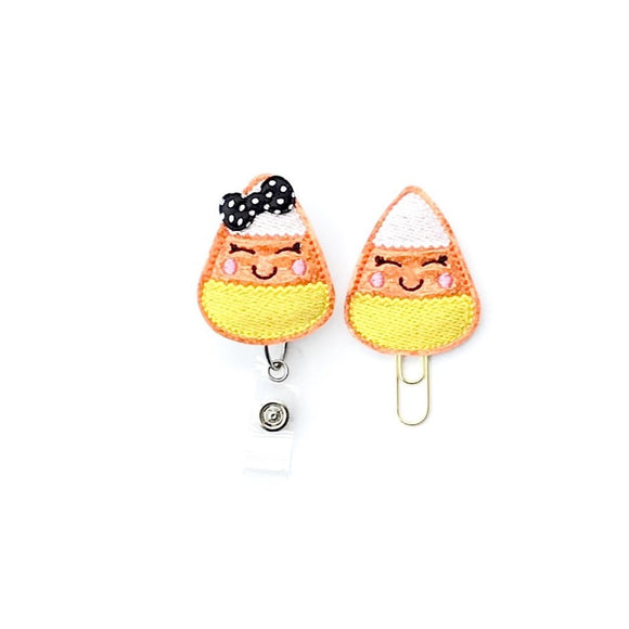 Halloween Candy Corn Badge Reel, Planner Clip, ID Holder, Magnet, Brooch Pin,