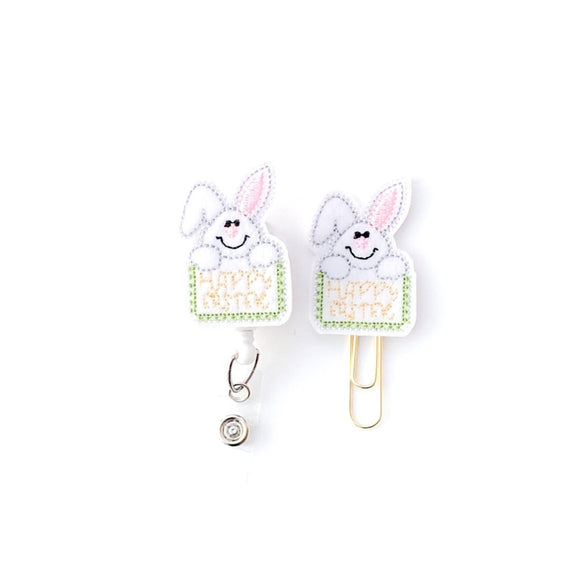 Happy Easter Badge Reel, Planner Clip, ID Holder, Magnet, Brooch Pin,