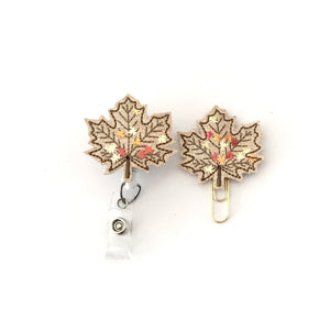 Fall Leaf Badge Reel, Planner Clip, ID Holder, Magnet, Brooch Pin,