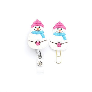 Winter Snowman Badge Reel, Planner Clip, ID Holder, Magnet, Brooch Pin,
