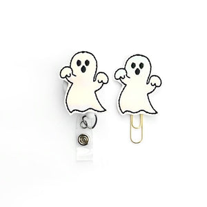 Halloween Ghost Badge Reel, Planner Clip, ID Holder, Magnet, Brooch Pin,