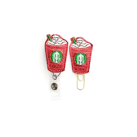 Christmas Peppermint Latte Badge Reel, Planner Clip, ID Holder, Magnet, Brooch Pin,