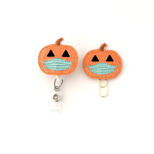 Pumpkin With Mask Badge Reel, Planner Clip, ID Holder, Magnet, Brooch Pin,