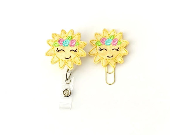 Glitter Sun Sunshine Badge Reel, Planner Clip, ID Holder, Magnet, Brooch Pin, (1460)