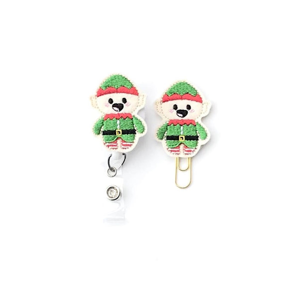 Christmas Elf Badge Reel, Planner Clip, ID Holder, Magnet, Brooch Pin,