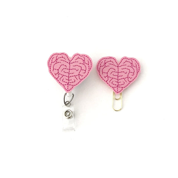 Heart Brain Badge Reel, Planner Clip, ID Holder, Magnet, Brooch Pin,