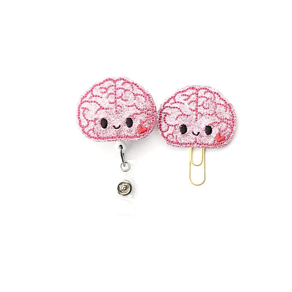 Brain Neurologist Badge Reel, Planner Clip, ID Holder, Magnet, Brooch Pin, (1479)