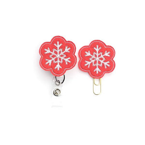 Christmas Snowflake Badge Reel, Planner Clip, ID Holder, Magnet, Brooch Pin,