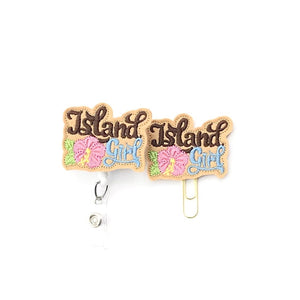 Island Girl Badge Reel, Planner Clip, ID Holder, Magnet, Brooch Pin, (1490)