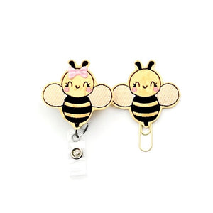 Bumble Bee Badge Reel, Planner Clip, ID Holder, Magnet, Brooch Pin,