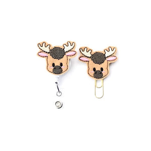 Moose Badge Reel, Planner Clip, ID Holder, Magnet, Brooch Pin, (1471)