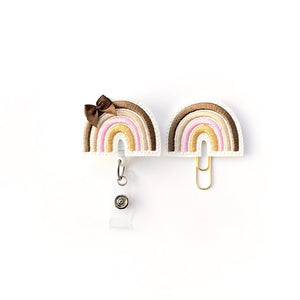 Neutral Boho Rainbow Badge Reel, Planner Clip, ID Holder, Magnet, Brooch Pin,