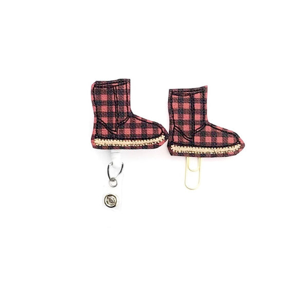 Plaid Winter Boot Badge Reel, Planner Clip, ID Holder, Magnet, Brooch Pin,