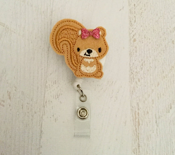 Squirrel Badge Reel, Planner Clip, ID Holder, Magnet, Brooch Pin, (987)