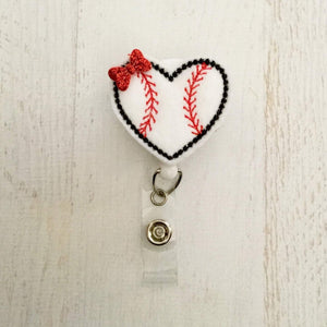Baseball Heart  Badge Reel, Planner Clip, ID Holder, Magnet, Brooch Pin,(441)