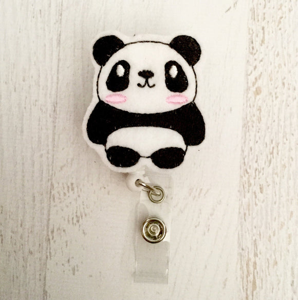 Panda Badge Reel, Planner Clip, ID Holder, Magnet, Brooch Pin, (854)