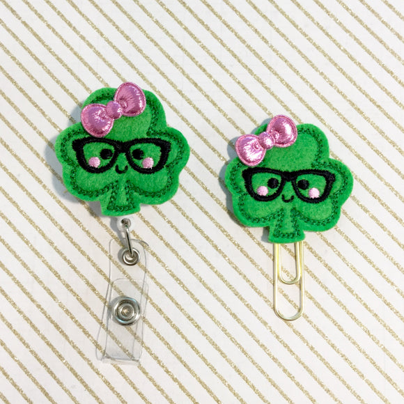 St Patricks Day Shamrock Badge Reel, Planner Clip, ID Holder, Magnet, Brooch Pin, (262)