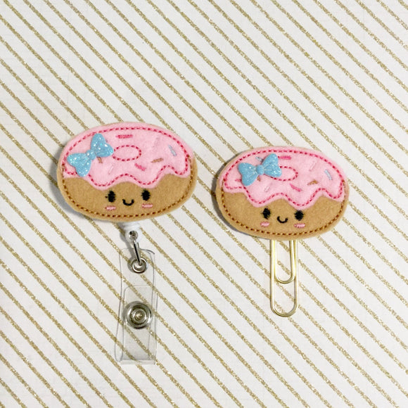 Donut Badge Reel, Planner Clip, ID Holder, Magnet, Brooch Pin, (639)