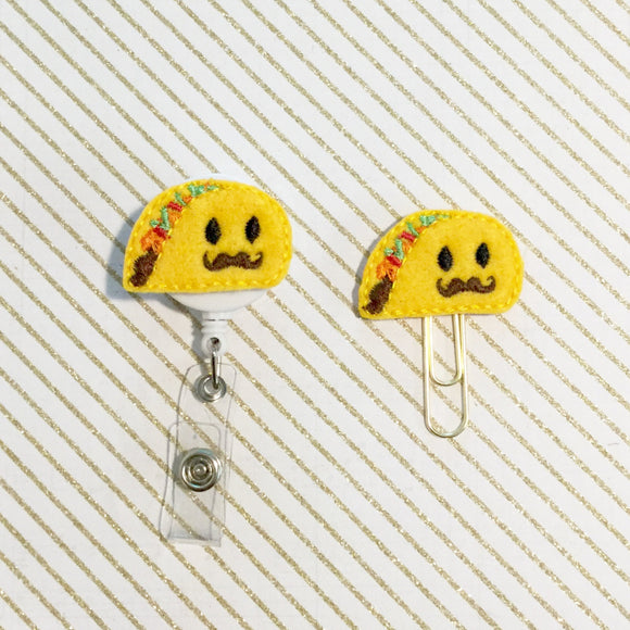 Taco Badge Reel, Planner Clip, ID Holder, Magnet, Brooch Pin, (1169)