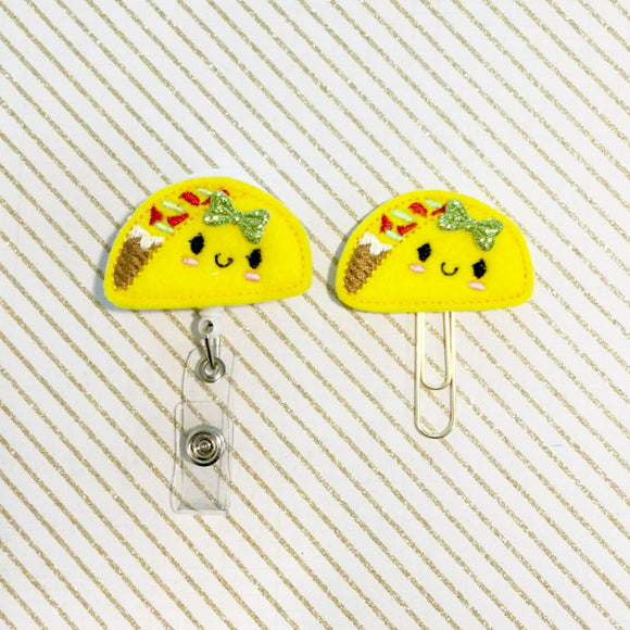 Taco Badge Reel, Planner Clip, ID Holder, Magnet, Brooch Pin, (571)